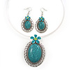 Large Teal Green Oval Medallion Flex Wire Necklace & Earrings Set In Silver Plating - Adjustable