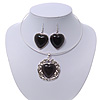 Black 'Heart' Pendant Flex Wire Necklace & Drop Earrings Set In Silver Plating - Adjustable