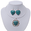 Teal Green 'Heart' Pendant Flex Wire Necklace & Drop Earrings In Silver Plating - Adjustable