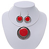 Red Enamel Medallion Flex Wire Necklace & Earrings Set In Silver Plating - Adjustable