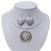 Antique White 'Heart' Pendant Flex Wire Necklace & Drop Earrings Set In Silver Plating - Adjustable