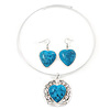 Turquoise 'Heart' Pendant Flex Wire Necklace & Drop Earrings Set In Silver Plating - Adjustable