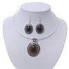 Black Oval Medallion Flex Wire Necklace & Earrings Set In Silver Plating - Adjustable