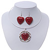 Coral Red 'Heart' Pendant Flex Wire Necklace & Drop Earrings Set In Silver Plating - Adjustable