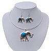 Silver Plated Flex Wire 'Elephant' Pendant Necklace & Drop Earrings Set With Turquoise Stone - Adjustable