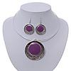 Purple Enamel Medallion Flex Wire Necklace & Earrings Set In Silver Plating - Adjustable