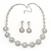 Stunning Bridal Crystal Circle Necklace & Drop Earring Set In Silver Metal - 42cm Length/6cm Extension