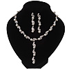 Stunning Bridal Simulated Pearl/Crystal Y-Necklace & Drop Earring Set In Silver Metal - 46cm Length/5cm Extension