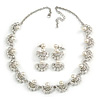 Luxurious Bridal Simulated Pearl/Crystal Necklace & Drop Earring Set In Silver Metal - 44cm Length/5cm Extension)