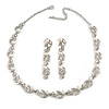 Classic Bridal Simulated Pearl/Crystal Necklace & Drop Earring Set In Silver Metal - 44cm Length/5cm Extension