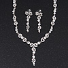 Stunning Bridal Crystal Y-Necklace & Drop Earring Set In Silver Metal - 44cm Length/5cm Extension