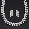 Stunning Bridal Diamante/Simulated Pearl Drop Earring Set In Silver Metal - 46cm Length/7cm Extension