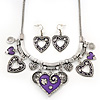 Burn Silver Hammered Charm 'Purple Heart' Necklace & Drop Earrings Set - 38cm Length/6cm Extension