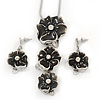 'Triple Flower' Dark Grey Enamel Diamante Necklace & Drop Earrings Set In Rhodium Plated Metal - 38cm Length (6cm extender)