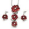 'Triple Flower' Red Enamel Diamante Necklace & Drop Earrings Set In Rhodium Plated Metal - 38cm Length (6cm extender)