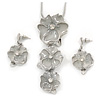 'Triple Flower' Milky White Enamel Diamante Necklace & Drop Earrings Set In Rhodium Plated Metal - 38cm Length (6cm extender)