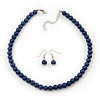 Violet Blue Glass Bead Necklace & Drop Earring Set In Silver Metal - 38cm Length/ 4cm Extension