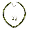 Olive Green Glass Bead Necklace & Drop Earring Set In Silver Metal - 38cm Length/ 4cm Extension