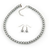 Light Grey Glass Bead Necklace & Drop Earring Set In Silver Metal - 38cm Length/ 4cm Extension