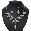 Delicate Bridal Diamante Floral Mesh 'Y'-Necklace & Drop Earrings Set In Silver Plating - 40cm Length/ 4cm Extension