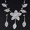 Delicate Bridal Diamante Flower Mesh 'Y'-Necklace & Drop Earrings Set In Silver Plating - 40cm Length/ 4cm Extension