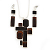 Dark Brown 'Summer Shapes' Necklace & Drop Earrings Set In Matte Silver Plating - 40cm Length/ 7cm Extension