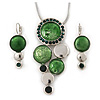 Rhodium Plated Grass Green Enamel, Crystal 'Multi Circle' Pendant & Drop Earrings Set - 38cm Length/ 5cm Extension