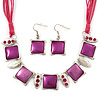 Fuchsia Enamel Square Station Cotton Cords Necklace & Drop Earrings In Rhodium Plating Set - 36cm Length/ 6cm Extension