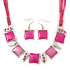 Pink Enamel Square Station Cotton Cords Necklace & Drop Earrings In Rhodium Plating Set - 36cm Length/ 6cm Extension
