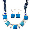 Light Blue Enamel Square Station Cotton Cords Necklace & Drop Earrings In Rhodium Plating Set - 36cm Length/ 6cm Extension