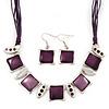Deep Purple Enamel Square Station Cotton Cords Necklace & Drop Earrings In Rhodium Plating Set - 36cm Length/ 6cm Extension