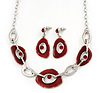 Dark Red Enamel Oval Geometric Chain Necklace & Drop Earrings Set In Rhodium Plating - 38cm Length/ 6cm Extension