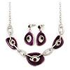 Purple Enamel Oval Geometric Chain Necklace & Drop Earrings Set In Rhodium Plating - 38cm Length/ 6cm Extension