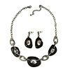Dark Grey Enamel Oval Geometric Chain Necklace & Drop Earrings Set In Gun Metal Finish - 38cm Length/ 6cm Extension