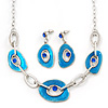 Ligth Blue Enamel Oval Geometric Chain Necklace & Drop Earrings Set In Rhodium Plating - 38cm Length/ 6cm Extension