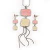Pale Pink/ Cream Enamel Square Tassel Pendant & Drop Earrings Set In Rhodium Plating - 38cm Length/ 5cm Extension