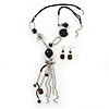 Long Black Resin Nugget Tassel Necklace and Earring Set In Silver Tone - 64cm Length (5cm extension)