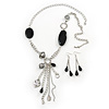 Long Black Acrylic Nugget Tassel Necklace and Earring Set In Silver Tone - 70cm Length (5cm extension)