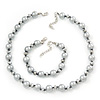Light Grey/ Metallic Grey Simulated Glass Pearl Necklace & Bracelet Set In Silver Plating - 38cm Length/ 4cm Extension