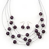 Purple/Black Animal Print Acrylic Bead Wire Necklace & Drop Earrings Set In Black Tone - 54cm Length/ 5cm Extension