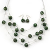 Light Green/Black Animal Print Acrylic Bead Wire Necklace & Drop Earrings Set In Silver Tone - 54cm Length/ 5cm Extension