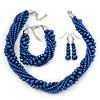 Cobalt Blue, Metallic Blue Glass Pearl Bead Multi Strand Neckace, Bracelet & Drop Earrings Set In Silver Tone - 34cm Length/ 4cm Extender