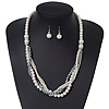 Multistrand White Simulated Glass Pearls & Grey Crystal Beads Long Necklace & Drop Earrings In Silver Plating - 52cm Length