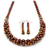 Chocolate Brown Faux Pearl/ Glass Crystal Cluster Necklace & Drop Earrings Set In Silver Plating - 38cm Length/ 6cm Extender