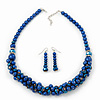 Navy Blue Faux Pearl/ Glass Crystal Cluster Necklace & Drop Earrings Set In Silver Plating - 38cm Length/ 6cm Extender