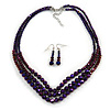 Chameleon Purple Multistrand Faceted Glass Crystal Necklace & Drop Earrings Set In Silver Plating - 44cm Length/ 6cm Extender