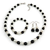 Black/ Cream Glass Pearl Bead Necklace, Flex Bracelet & Drop Earrings Set With Diamante Rings - 38cm Length/ 6cm Extension
