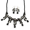 Victorian/ Gothic/ Burlesque Black Glass Bead Necklace & Drop Earring Set In Rhodium Plating - 40cm Length/ 5cm Extension