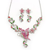 Pink/ Green Austrian Crystal 'Butterfly' Necklace & Drop Earring Set In Rhodium Plating - 40cm Length/ 6cm Extension