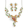 Green, Citrine & Topaz Coloured Austrian Crystal 'Butterfly' Necklace & Drop Earring Set In Rhodium Plating - 40cm Length/ 6cm Extension